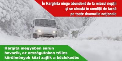 Hargita-megyében-sűrűn-havazik,-az-országutakon-télies-körülmények-közt-zajlik-a-közlekedés