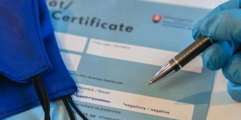 Certificat test negativ COVID-19 FOTO SHUTTERSTOCK â