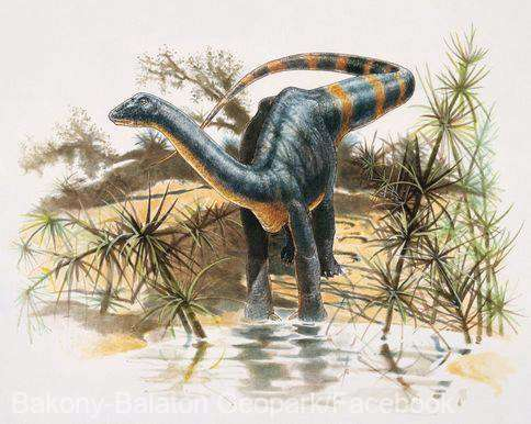 Reprezentarea unui dinozaur pitic. Foto: Facebook / Bakony-Balaton Geopark